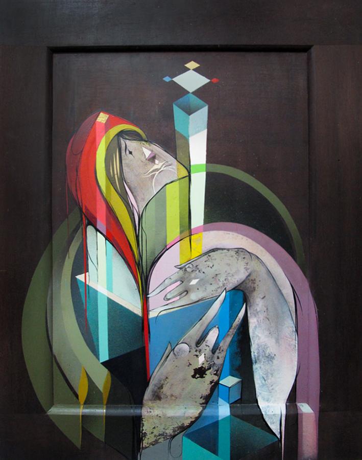 Convite aos encantos de um olhar - Spray and acrylic on wood 78 x 59 cm   2012