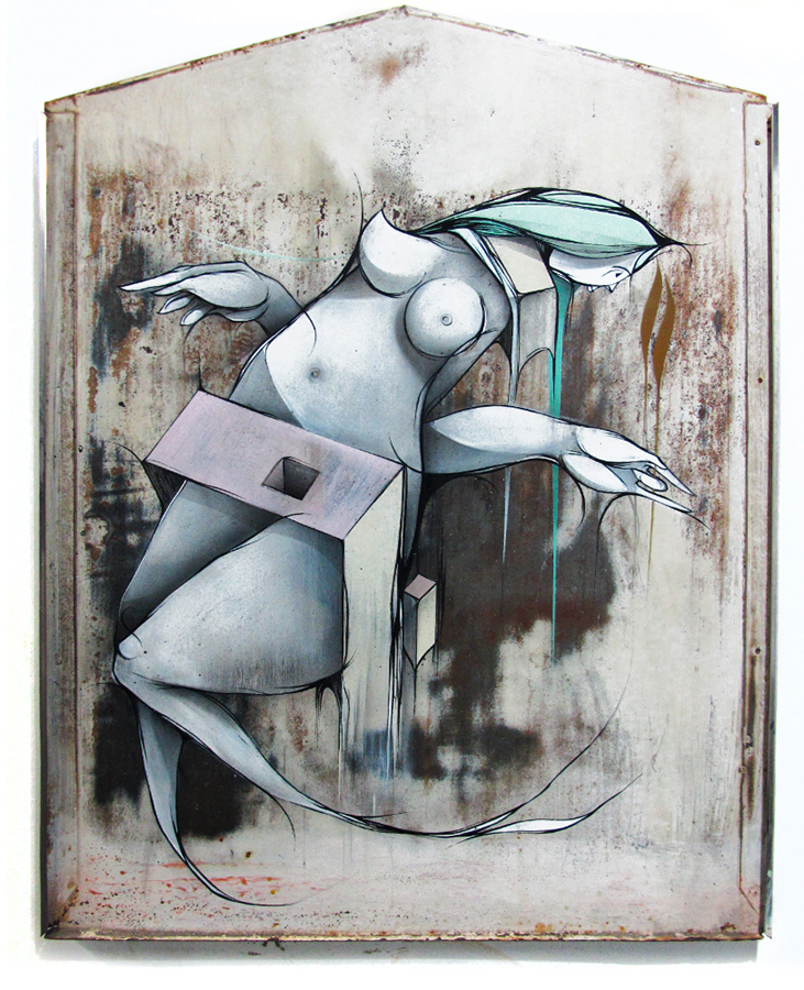 Se eu me sentasse ao seu lado - Spray and acrylic on metal 46 x 59cm | 2012